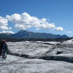 GeoFORCE Alaska students hike on the Matanuska Glacier during the 2012 academy trip in Alaska.